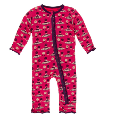 Kickee Pants Bamboo Muffin Ruffle Coverall with Zipper in Red Ginger Aliens with Flying Saucers