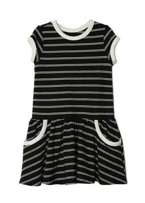 Mabel + Honey - Black and White Stripe Dress with Pockets