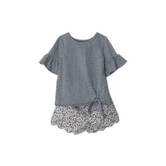Mabel + Honey Set - Cotton Striped Top/Scalloped Shorts Set