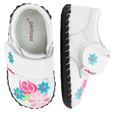 Pedi Ped Infant Shoes - Olivia White Leather Soft Sole Shoes