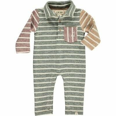 Me & Henry Long Sleeve Striped Polo Romper