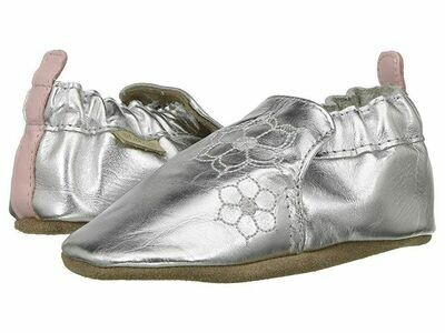 Robeez - Loved & Cherished Silver Soft Sole  Leather Shoes