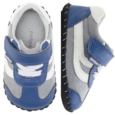 Pedi Ped (INF) - Cliff Blue Grey Leather Soft Sole Shoes