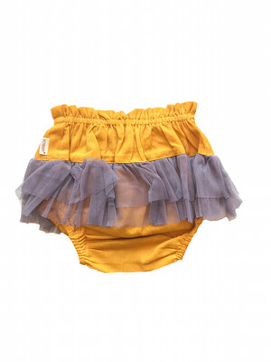Yo Baby Bloomer Diaper Cover - Mustard with Tulle
