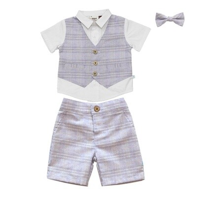 Fore!!! Set with Vest & Bow Tie - Blue