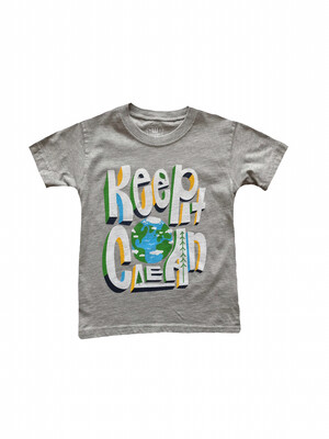 "Wes & Willy ""Keep it Clean"" Graphic Tee - Grey"