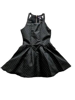 Hannah Banana Dress - Black with Gold Dots