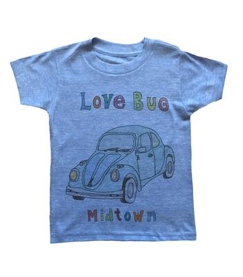 """""""Love Bug Midtown"""" Slug Bug Tee - Blue"""