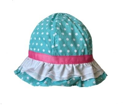 Wee Ones Blue with White Polka Dots (Tie Strap) Sun Hat