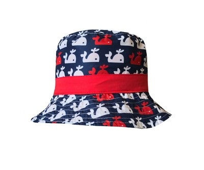 Wee Ones Reversible Bucket Hat - Red, White, & Blue Fish