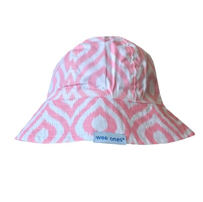 Wee Ones Reversible Pink & White (Velcro Strap) Sun Hat