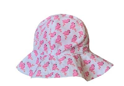 Wee Ones Reversible Sun Hat Flamingos (Velcro Strap)