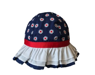 Wee Ones Red, White, & Blue Flowers Sunhat (Tie Strap)