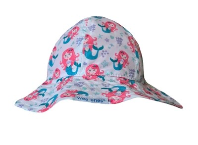 Wee Ones Reversible Sunhat with Mermaids (Velcro Strap)