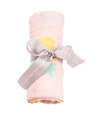 Angel Dear Bamboo Cotton Muslin Swaddle Blanket - Pink Pineapples