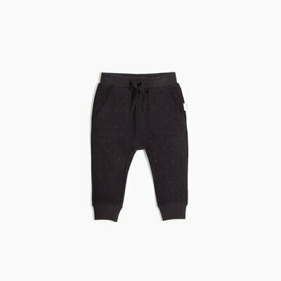 Miles Sweatpants with Drawstring - Black with Speckles