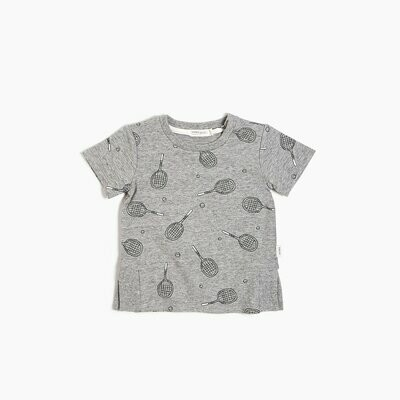 Miles Graphic Tee - Grey with Racquets