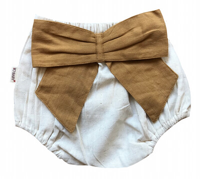 Yo Baby Bloomer Diaper Cover - Natural with Mustard Bow