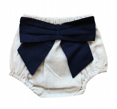 Yo Baby Bloomer Diaper Cover - Natural with Navy Bow