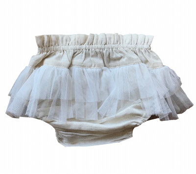 Yo Baby Bloomer Diaper Cover - Natural with Tulle