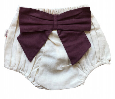 Yo Baby Bloomer Diaper Cover - Natural with Purple Bow