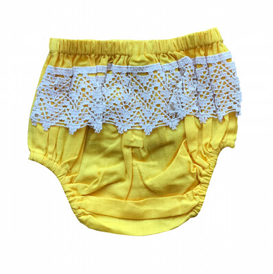 Yo Baby Bloomer Diaper Cover - Yellow with Crochet