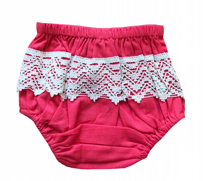 Yo Baby Bloomer Diaper Cover - Bright Pink with Crochet