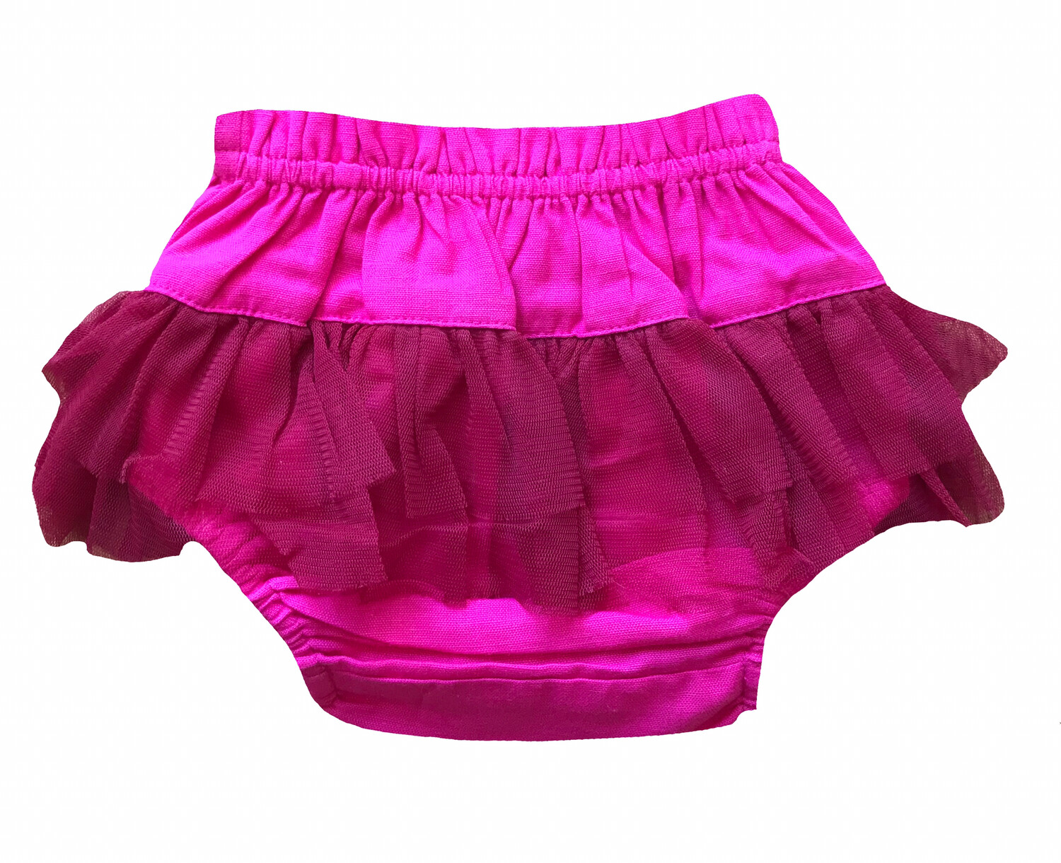 Yo Baby Bloomer Diaper Cover - Fuchsia with Tulle