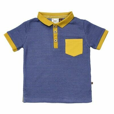 Fore!!! Polo - Blue & Mustard Yellow