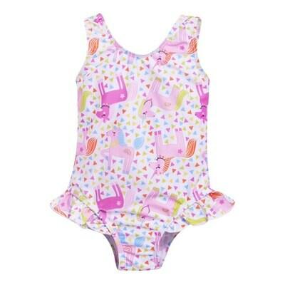 Flap Happy UPF 50+ Delaney Hip Ruffle Swimsuit | Unicorn Party