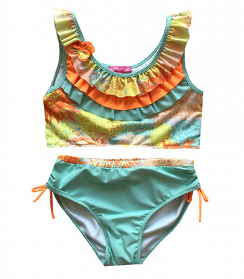 Isobella & Chloe Two Piece Swimsuit - Floral Ruffles