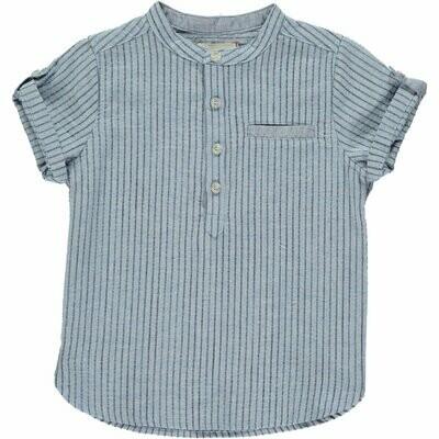Me & Henry 100% Cotton Shirt - Blue/navy Stripe Round Neck