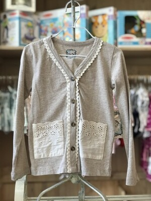 Little Prim Heather Oatmeal Lightweight Cardigan