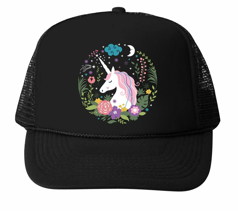 Bubu Floral Unicorn Trucker Hat - Black