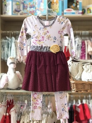 Giggle Moon Deep Pink Floral Dress Set