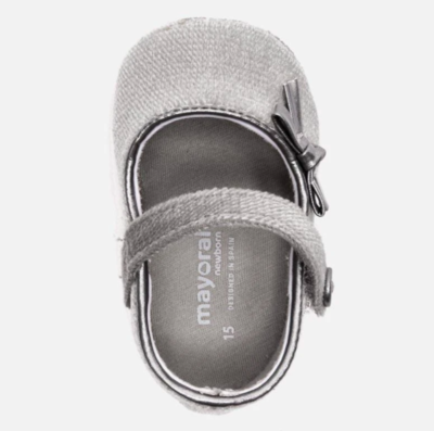 Mayoral Baby Shoes - Grey Velvet Mary Janes