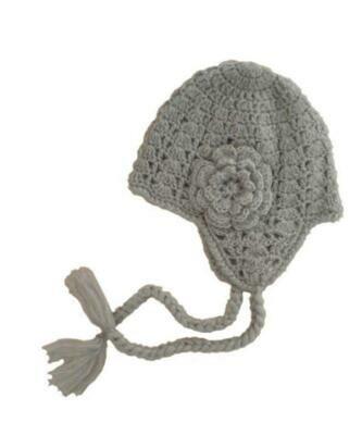 Huggalugs Grey Lacy Flowered Earflap Knit Beanie