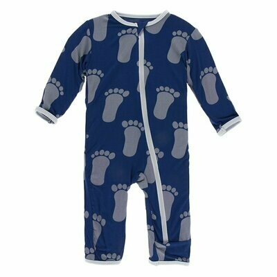 Kickee Pants Print Coverall with Zipper in Flag Blue Bigfoot