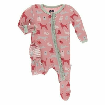 Kickee Pants Print Muffin Ruffle Footie with Zipper in Strawberry Domestic Animals