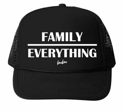 "Bubu ""Family Over Everything"" Trucker Hat - Black"