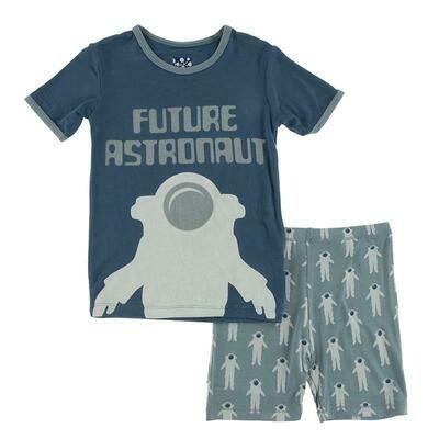 Kickee Pants Short Sleeve Piece Print Pajama Set with Shorts - Dusty Sky Astronaut