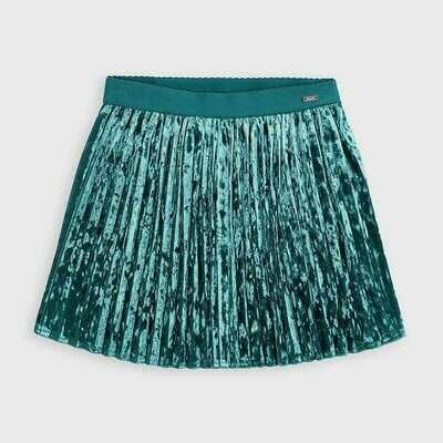Mayoral Pleated Velvet Skirt - Blue/Green