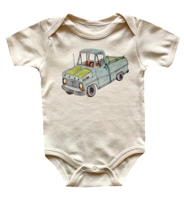 Vintage Truck Cotton Onesie - Natural