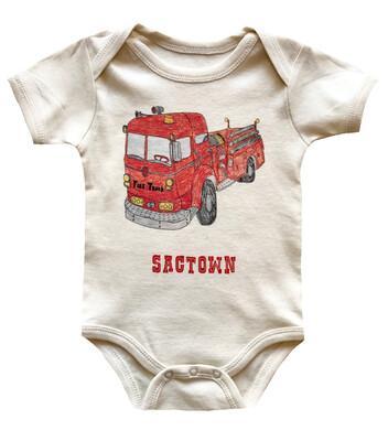 """""""Sactown"""" Firetruck Cotton Onesie - Natural"""