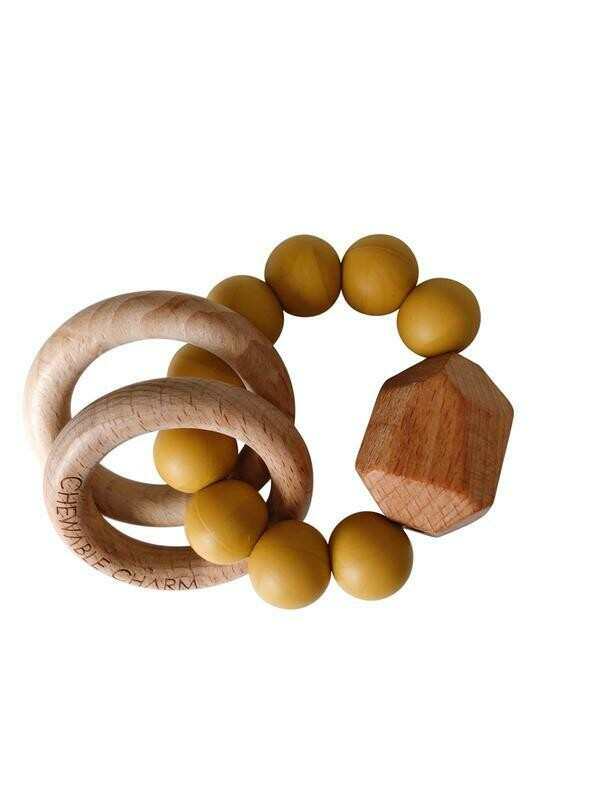 Chewable Charm - Hayes Silicone + Wood Teether Ring- Mustard Yellow