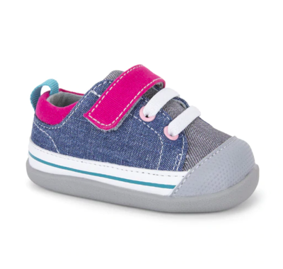 See Kai Run (First Walker) - Stevie II Blue/Gray with Pink