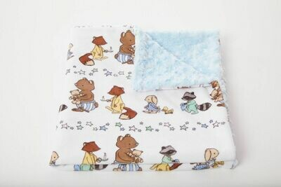 Tourance - Little Bears Baby Blanket with Blue