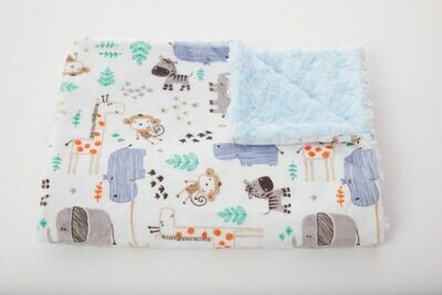 Tourance - Elephants and Friends Baby Blanket with Blue