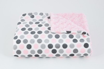 Tourance - Multi Dots Blush and Grey Baby Blanket
