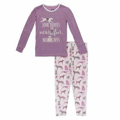 Kickee Pants - Piece Print Long Sleeve Pajama Set in Macaroon Canine First Responders